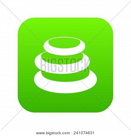 Stack Of Basalt Balancing Stones Icon Digital Green For Any Design Isolated On White Vector Illustra