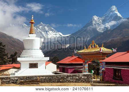 Tengboche Monastery With Stupa And Mount Everest, Lhotse And Ama Dablam,  The Best Monastery In Khum