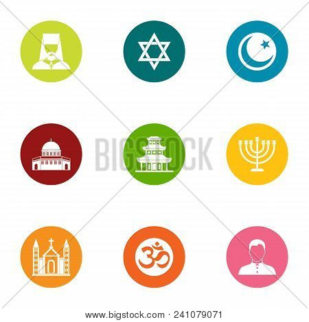 Religion Of The East Icons Set. Flat Set Of 9 Religion Of The East Vector Icons For Web Isolated On
