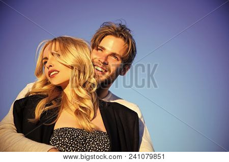 Sensual Love Game. Couple In Love. Family Or Couple In Love Of Blonde Sexy Woman And Young Muscular