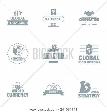 Globalization Logo Set. Simple Set Of 9 Globalization Vector Logo For Web Isolated On White Backgrou