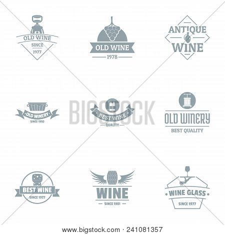 Finest Wine Logo Set. Simple Set Of 9 Finest Wine Vector Logo For Web Isolated On White Background