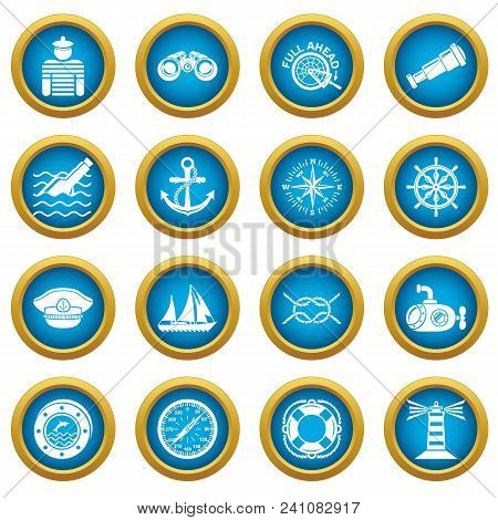 Nautical Icons Set. Simple Illustration Of 16 Nautical Vector Icons For Web