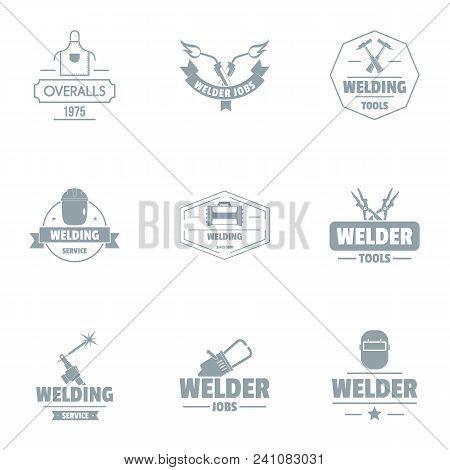 Welding Unit Logo Set. Simple Set Of 9 Welding Unit Vector Logo For Web Isolated On White Background