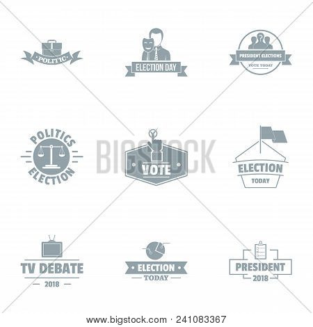 Important Vote Logo Set. Simple Set Of 9 Important Vote Vector Logo For Web Isolated On White Backgr