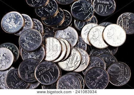 A Close Up Of A Pile Of Brass Russian Ten Kopek Coins In A Pile