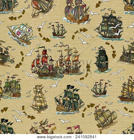 Seamless Background With Old Sailing Ships And Gull On Old Texture. Pirate Adventures, Treasure Hunt