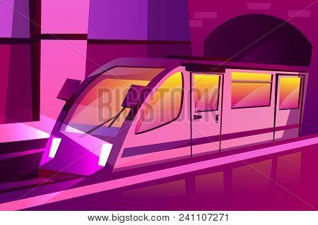 Vector Cartoon Modern Subway, Underground Speed Train In Futuristic Purple Color Style. Illustration