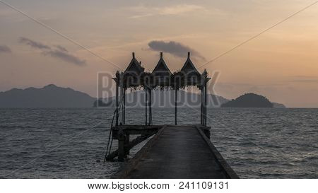 Malaysia,langkawi:morning Scenery Of Long Dock At Tuba Island.pulau Tuba Is A Beautiful,located 5 Km