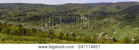 Panorama Of Ukrainian Village Urych Near The Place Of Tustan Fortress - A Medieval Cliff-side Fortre