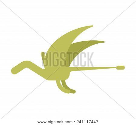 Pterosaur Dinosaur Isolated. Ancient Animal. Dino Prehistoric Monster. Beast Is Jurassic Period. Vec