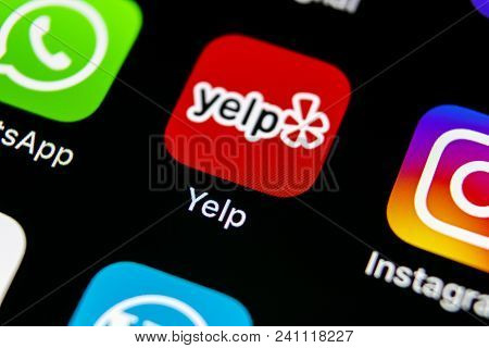 Sankt-petersburg, Russia, May 10, 2018: Yelp Application Icon On Apple Iphone X Screen Close-up. Yel