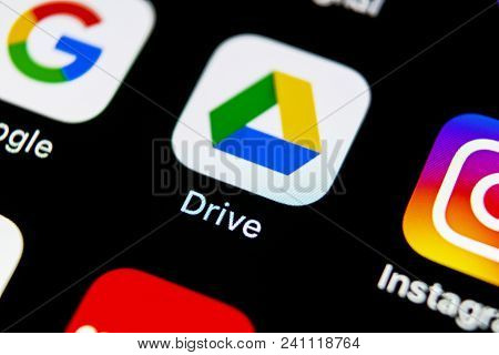 Sankt-petersburg, Russia, May 10, 2018: Google Drive Application Icon On Apple Iphone X Screen Close