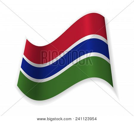 Flag Of The Gambia. The Republic In West Africa. Vector Illustration. The Capital Banjul.