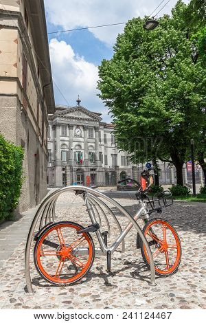 Mobike Bicycle Meant For Bike Sharing, Parked In Public Area. Mobike A Popular Bike Sharing Platform