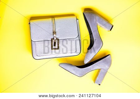 Fashionable Accessories Concept. Footwear For Women With Thick High Heels And Bag, Top View. Pair Of