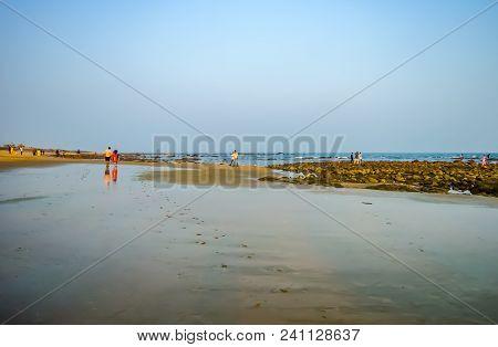 Beautiful Sea Shore At Sunrise Or Sunset Sunset Wild Empty Tropical Beach, Blue Sky, Sunlight Reflex