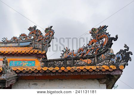 Decoration In Pagoda In Emperial City Kinh Thanh In Hue, Vietnam