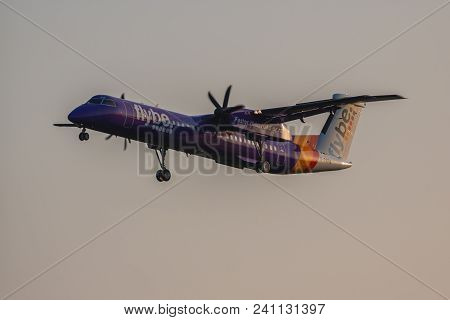 London, Uk - May 13, 2018: Bombardier Dash 8 Q400 Flybe Airlines Approaching To London Heathrow Airp