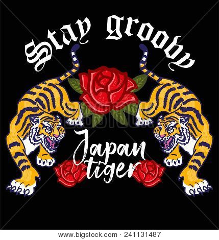Embroidery Angry Wild Tigers With Decorative Flowers Japan Tokyo Concept Japanese Hieroglyphs And Le