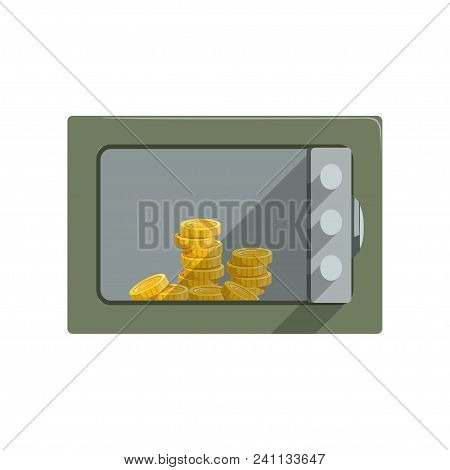Safe Box With Golden Coins, Safety Business Box Cash Secure Protection Concept Vector Illustration I