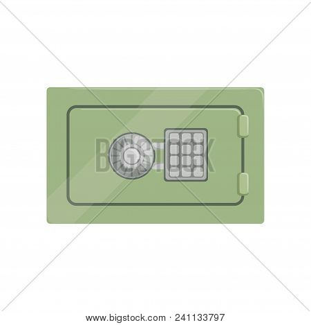Safe Steel Box With A Keypad Buttons Panel, Safety Business Box Cash Secure Protection Concept Vecto