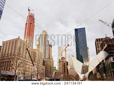 New York, Usa - April 24, 2015: Wing Of Wtc Transportation Hub And Skyscrapers Of Financial District