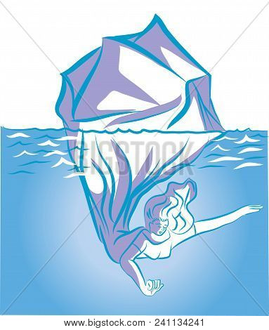 Soul Of Woman.   Iceberg In The Ocean Symbolized With Deep Soul Of Woman. An Illustration Of Mood Of