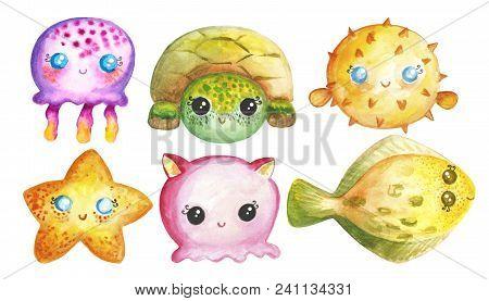 Sea Animals Under The Sea Watercolor Hand Drawn Ocean Creatures