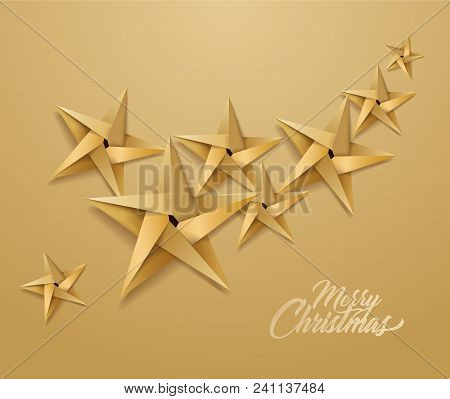 Origami Christmas Star Pattern For Holiday Poster Design. Golden Paper Shiny Xmas Decoration Object