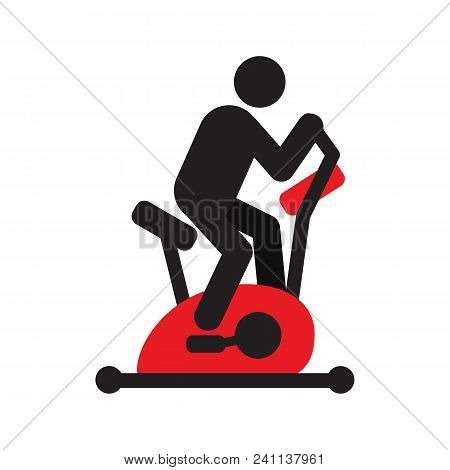 Man Training With Exercise Bike Silhouette Icon. Stationary Bicycle. Isolated Vector Illustration