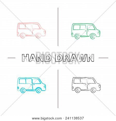 Minibus Hand Drawn Icons Set. Color Brush Stroke. Minivan. Family Car. Isolated Vector Sketchy Illus