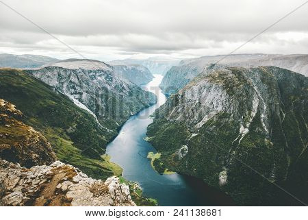 Norway Landscape Fjord And Mountains Aerial View Naeroyfjord Beautiful Scenery Scandinavian Natural
