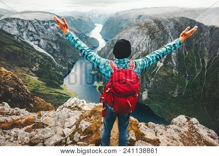 Traveler Man On The Top Of Mountain Success Raised Hands Healthy Lifestyle Travel Adventure Vacation