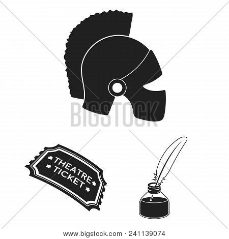 Theatrical Art Black Icons In Set Collection For Design.theater Equipment And Accessories Vector Sym