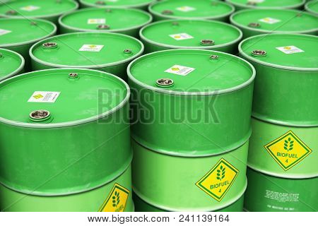 3d Render Illustration Of The Group Of Green Stacked Metal Biofuel Drums Or Biodiesel Barrels In The