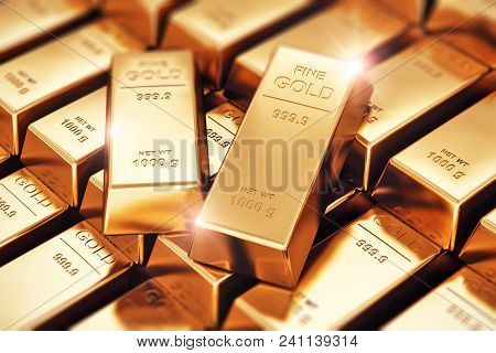 3d Render Illustration Of The Macro View Of Stacks And Rows Of Gold Ingots Or Golden Bullions Bars W