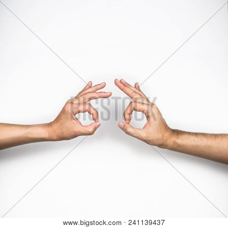Ok, Two Hands Agree Gestures On White Background