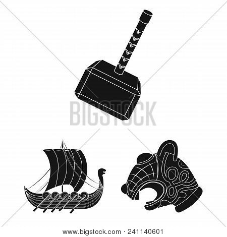 Vikings And Attributes Black Icons In Set Collection For Design.old Norse Warrior Vector Symbol Stoc