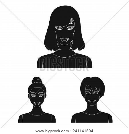 Types Of Female Hairstyles Black Icons In Set Collection For Design. Appearance Of A Woman Vector Sy