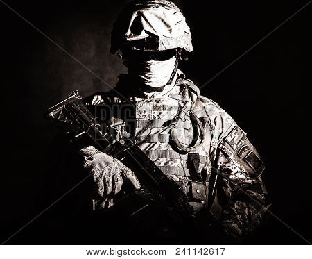 Half Length Portrait Of Special Operations Forces Soldier, Private Military Company Guard In Helmet,