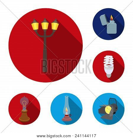 Light Source Flat Icons In Set Collection For Design. Light And Equipment Vector Symbol Stock  Illus