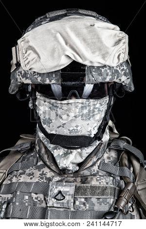 Close Up Portrait Of Marine Raider, Elite Army Squad Member, Military Company Mercenary In Combat He