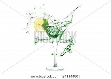 Splash Of Martini Drink With Lemon Slice And Ice
