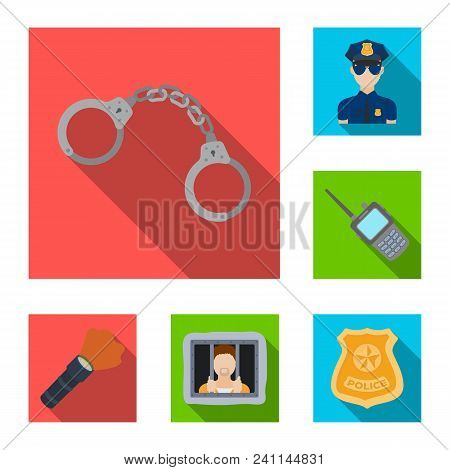 Police, Department Flat Icons In Set Collection For Design.detective And Accessories Vector Symbol S