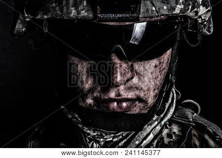 Cropped Close Up Portrait Of Us Special Operations Forces Soldier, Marine Raider, Modern Combatant I