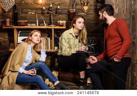 Friends, Family Spend Pleasant Evening, Interior Background. Sincere Conversation Concept. Girls And