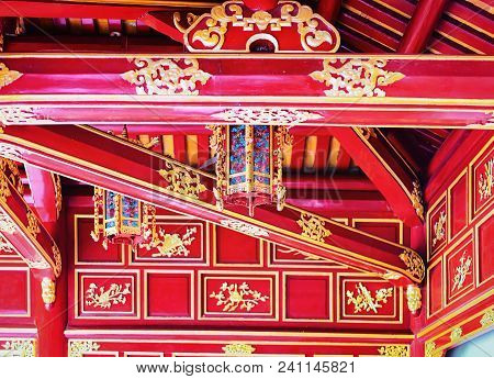 Hue, Vietnam - February 19, 2016: Red Hall Entrance At Emperial City Kinh Thanh In Hue, Vietnam