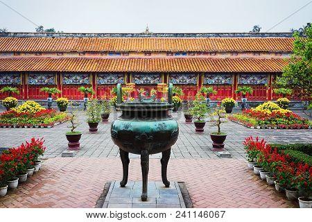 Hue, Vietnam - February 19, 2016: Urn At Emperial City Kinh Thanh At Hue, Vietnam