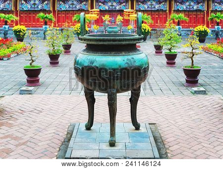 Hue, Vietnam - February 19, 2016: Urn In Emperial City Kinh Thanh In Hue, Vietnam